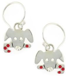 Puppy Dog W/ Candy Cane Dangle Earrings