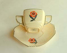 A rare double-handled Art Deco Cup & Saucer set from Leigh Potters