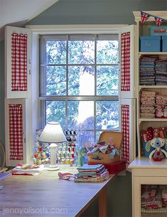 move sewing table next to window Sewing Spaces, My Sewing Room, Sewing Rooms, Window Shutters, Kitchen Shutters, Interior Shutters, Red Cottage, Quilting Room, Space Crafts