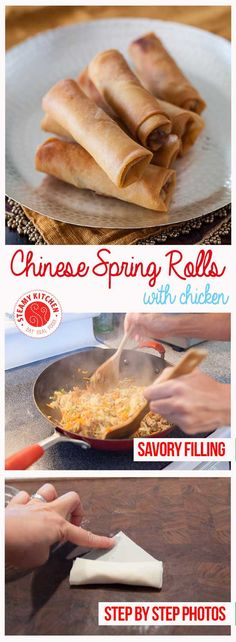 Chinese Spring Rolls with Chicken Recipe - light, crisp-crackly skin and small enough to enjoy in 4 bites, light and full of tender-crisp vegetables filling| steamykitchen.com ~ http://steamykitchen.com