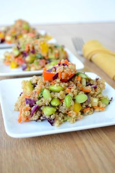 Asian Quinoa Salad - save time by purchasing pre-chopped peppers & pre-shredded carrots.  This salad is healthy AND delicious!