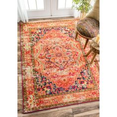 nuLOOM Traditional Flower Medallion Orange Rug (9' x 12') (Orange), Beige Off-White, Size 9' x 12' (Plastic, Floral)