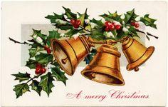 vintage Christmas postcard, public domain Christmas image, Christmas bells illustration, holly berries printable, old fashioned Christmas card