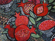 Pomegranates by Chanan Mazal Recipe for Pomegranate in Lime & Rosewater Syrup. Origami, Pomegranate Art, Words On Canvas, Guache, Jewish Art, Mosaic Art, Art Google, Art Blog, Textile Art