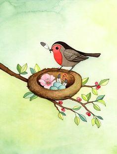 Art for nursery -  bird print - Neutral baby gift