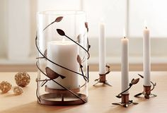 Hurricane pillar candle holder is a naturally beautiful addition to your Thanksgiving table decorations.
