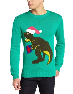 Alex Stevens Men's Santasaurus Rex Ugly Christmas Sweater at Amazon Men's Clothing store: Pullover Sweaters