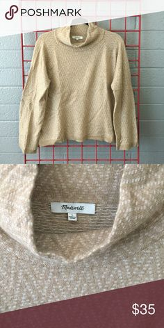Madewell Mockneck Sweater SO SOFT. This is my favorite sweater but it no longer fits me. Wide sleeve (not bell) with a boxy fit in the body. Chevron pattern detail. 38% Viscose, 35% Nylon, 22% Merino Wool, 5% Alpaca. Like new!! Madewell Sweaters Cowl & Turtlenecks