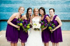 White flowers for the bride: why? they blend in to the dress.  And dark purple flowers for the bridesmaids dressed in purple: again, why? you can't see the flowers. Austin Texas Wedding at Blanton Museum by Jenny DeMarco Photo on Marry Me Metro09