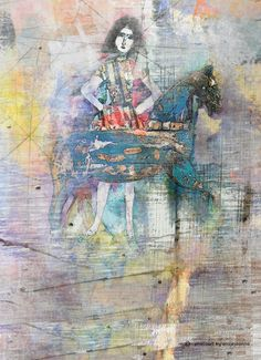 Woman with horse by ansjejoanna mixed media