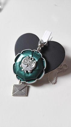 Collier Harry Potter Hibou Invitation Poudlard Maison Serpentard argenté cabochon Nespresso vert : Collier par miss-perles
