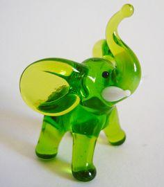 Elephant Green Glass Art Figurine by artexport on Etsy, $4.99