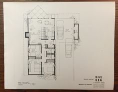 Eichler Homes floor plan 301 / 316, side front door similar to many models in Morepark (Original at UCLA Library Special Collection, A. Quincy Jones Papers)