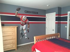 new england patriots bedroom for nate! | hockey rink basement