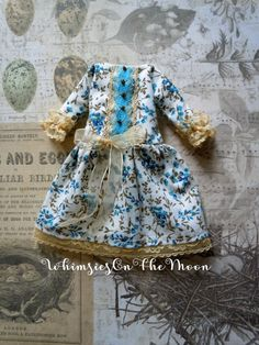 Gold and Blue Floral Dress. Handmade Blythe by WhimsiesOnTheMoon
