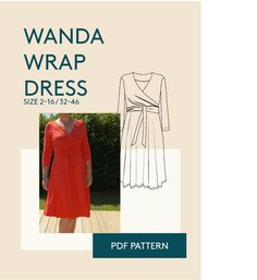 The wanda wrap dress PDF sewing pattern for women sizes is a super flattering jersey dress, wrapped and fitted at the torso, with a full skirt. Gored Skirt, Flowy Skirt, Diy Wardrobe, Dress Sewing Patterns, Wrap Dress, Fabric, Cotton, Dresses, Stage