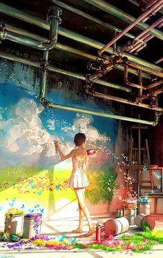 Girl painting landscape on the wall illustration Anime Art Girl, Manga Art, Yuumei Art, Japon Illustration, Anime Scenery, Cartoon Art, Cute Art, Amazing Art, Character Art