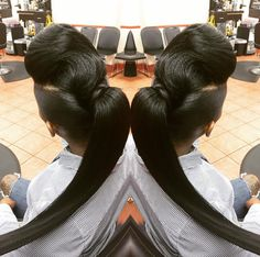 Two ponytails with weave . Black Braids are now popular and you can see going on for at all the interchange styles, shapes, and cuts for black hair and after Two Ponytail Hairstyles, Cute Ponytails, Twist Ponytail, Ponytail Styles, Black Girls Hairstyles, Weave Hairstyles, Short Hair Styles, Natural Hair Styles, Up Dos