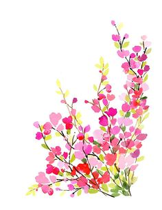 Handmade Watercolor Original Painting Springtime por YaoChengDesign, $20.00