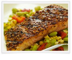 Salmon With Grilled Corn Succotash
