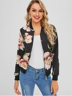 aef229f7be5 Floral Zip Up Light Bomber Jacket