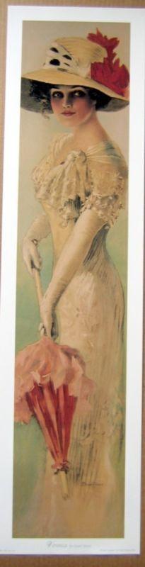 art print~VERONICA~lace parasol tall Victorian lady vtg repro yardlong 9.25x36