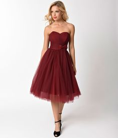 45a49fd5045 1950s Style Burgundy Pleated Mesh Strapless Warner Swing Dress
