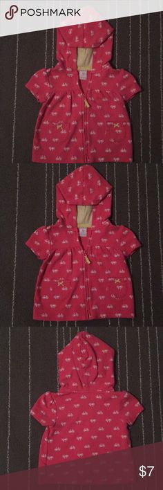 Carter's short sleeve hoodie sweat jacket Adorable short sleeve hoodie sweat jacket! Pink with a white bicycle design and yellow accents! The jacket has a working zipper closure! Carter's Jackets & Coats