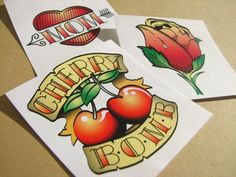 12 Classic Temporary Tattoos | buttonhead - Retro/Kitsch on ArtFire