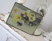 Vintage Flue Cover - Advertising - Antique - Pansies - Le Roy - Dry Goods and Millinery
