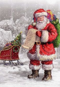Christmas love this santa Christmas Scenes, Noel Christmas, Father Christmas, Vintage Christmas Cards, Little Christmas, Christmas Pictures, Winter Christmas, Vintage Cards, Christmas Glitter