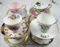 20 Mismatched Vintage Tea Cups and Saucers for Your Wedding or Event. Perfect Wedding Favors!