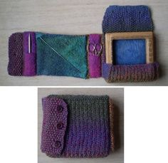 """Small Loom Case-This pattern is available as a free Ravelry download. A knitted case to fit a small (4"""") weaving loom. It is lined with felt to protect the nails and has pockets for weaving tools."""
