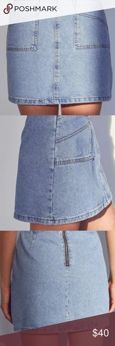 Urban Outfitters Utility A-Line Denim Mini Skirt This is my absolute favorite denim skirt but it doesn't fit me anymore :'( It's still in great condition (I haven't owned it for more than a year) and Urban doesn't sell this style anymore! PLs comment with questions and if you don't like my price, make an offer! Urban Outfitters Skirts Mini