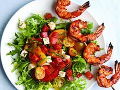 fine cooking Ripe, in-season ingredients are the key to this summery main-course salad, so use the best tomatoes and watermelon you can find. Grilling Recipes, Seafood Recipes, New Recipes, Dinner Recipes, Healthy Recipes, Summer Recipes, Grilling Ideas, Healthy Eats, Pasta Recipes