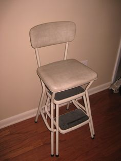 Vintage step stool - in the kitchen by the refrigerator