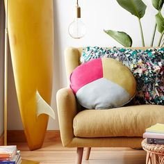 Love this peace inspired cushion in mustard and pink - my very favourite combination