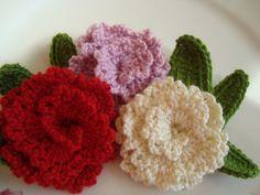 3 PCS COTTONCrochet applique flowers by havvakarada on Etsy