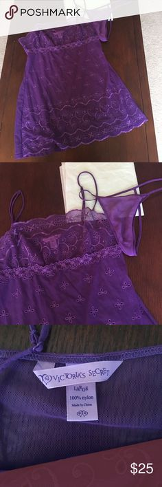 Purple Victoria Lingerie NWOT Baby doll and thong, NWOT.  Thong has been washed a few times ( I have super sensitive skin and have to do this with clothes before wearing). 100% silk. A grape purple, color represented best in first photo, close up adjustable straps material has small bit of stretch, but not a ton due to material Victoria's Secret Intimates & Sleepwear Chemises & Slips