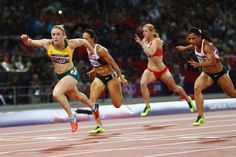 Sally Pearson of Australia leads in the Olympic 110m hurdles