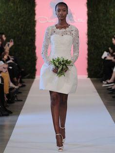vestido de noiva curto de oscar de la renta em seda e organza colecao 2015 5 #casarcomgosto