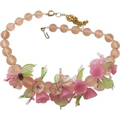 Vintage Italian Glass Pink Flower and Leaf Necklace 30% OFF SALE on over 300 items!  Sale hours Thur., Jan. 18 until Sun., Jan 21 8am PST.  Shop now for best selection.