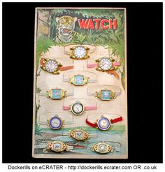 Vintage Trade Card Of Tin Toy Watches, Japan (Picture 1 of 2). Vintage Tin Litho Tin Plate Toy.