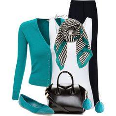 """""""Striped Scarf / Wide Leg Trousers / Pointed Shoes / Cardigan"""" by tayswift-1d on Polyvore"""