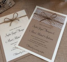 1 vintage/shabby chic 'Sophie' Wedding Invitation with lace and twine in Home, Furniture & DIY, Wedding Supplies, Cards & Invitations | eBay #vintageweddinginvitations