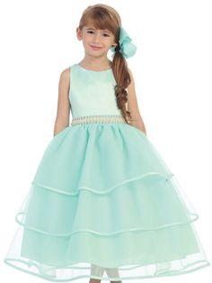 Satin and Organza Layered Flower Girl Dress