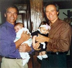 Arnold Schwarzenegger with his son Patrick and Clint Eastwood with his daughter Francesca.