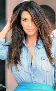 She gives new meaning to the denim shirt.  Kim Kardashian http://www.aliexpress.com/store/product/Queen-Hair-Products-Brazilian-Virgin-Hair-Body-Wave-Hair-Extension-Ombre-Weave-3pcs-Grade-5A-Unprocessed/527560_1108038406.html