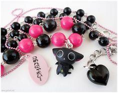 Vampire Kitty Necklace, Beaded Black and Fuschia Chain with Figure Pendant in Silver - Kawaii Jewelry, Oshare Kei