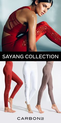 "Sayang, meaning ""love"" in Indonesian, represents a beautiful and centered approach to yoga-inspired activewear. Remote retreats set in lush, tranquil settings inspire the collection's earth-toned palette. Macramé panels of braided and knot Workout Attire, Workout Wear, Sporty Outfits, Cool Outfits, Look Fashion, Girl Fashion, Gym Wear, Sport Wear, Athletic Wear"